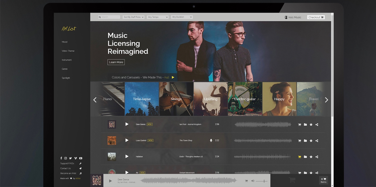 Artlist music library out of beta: download an unlimited number of royalty free songs for a flat fee - Newsshooter