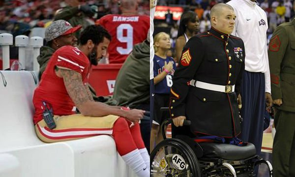 Image result for veteran without legs in wheel chair stands in playing of national anthem at NFL game