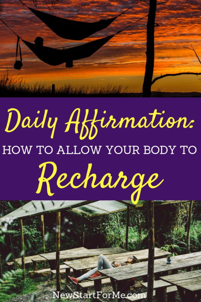 """Feel like life is a treadmill? Say it with us, """"I allow my body to recharge to be at peace."""" NewStart Daily Affirmation Series. Recharge with us!"""