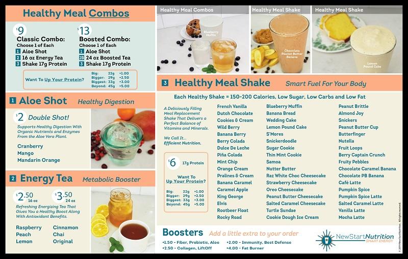 NewStart Nutrition Menu Board