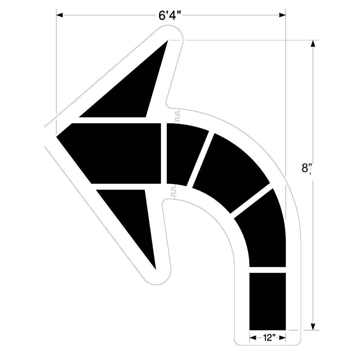 Large Federal Curved Arrow Stencil