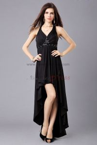 Simple dresses: Black prom dress short in front long in back