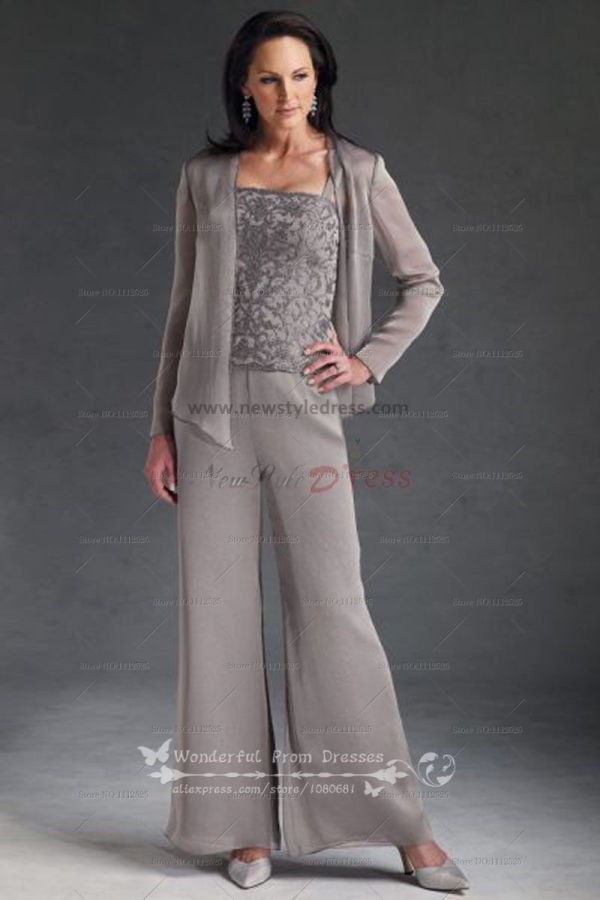 Cheap Three Piece Chiffon Mother Of Dress Pant Suits With Lace Nmo-030