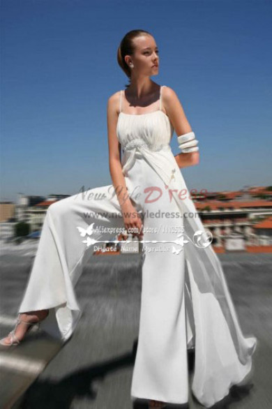 Beach wedding dresses Spaghetti jumpsuit for bride sposa pantalone wps058  Wedding Pant Suits