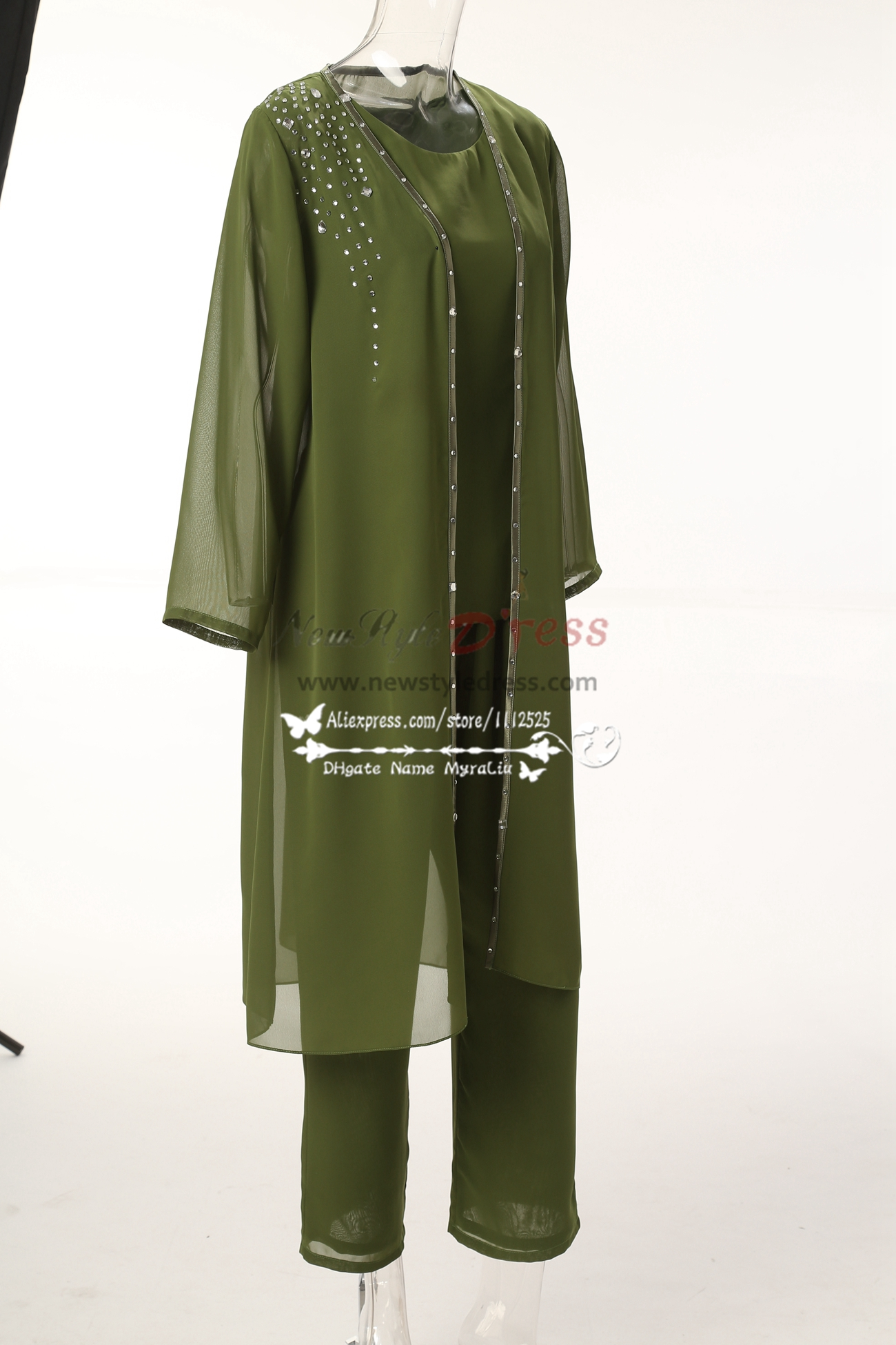 Green Chiffon Mother Of The Bride Pant Suits With Long