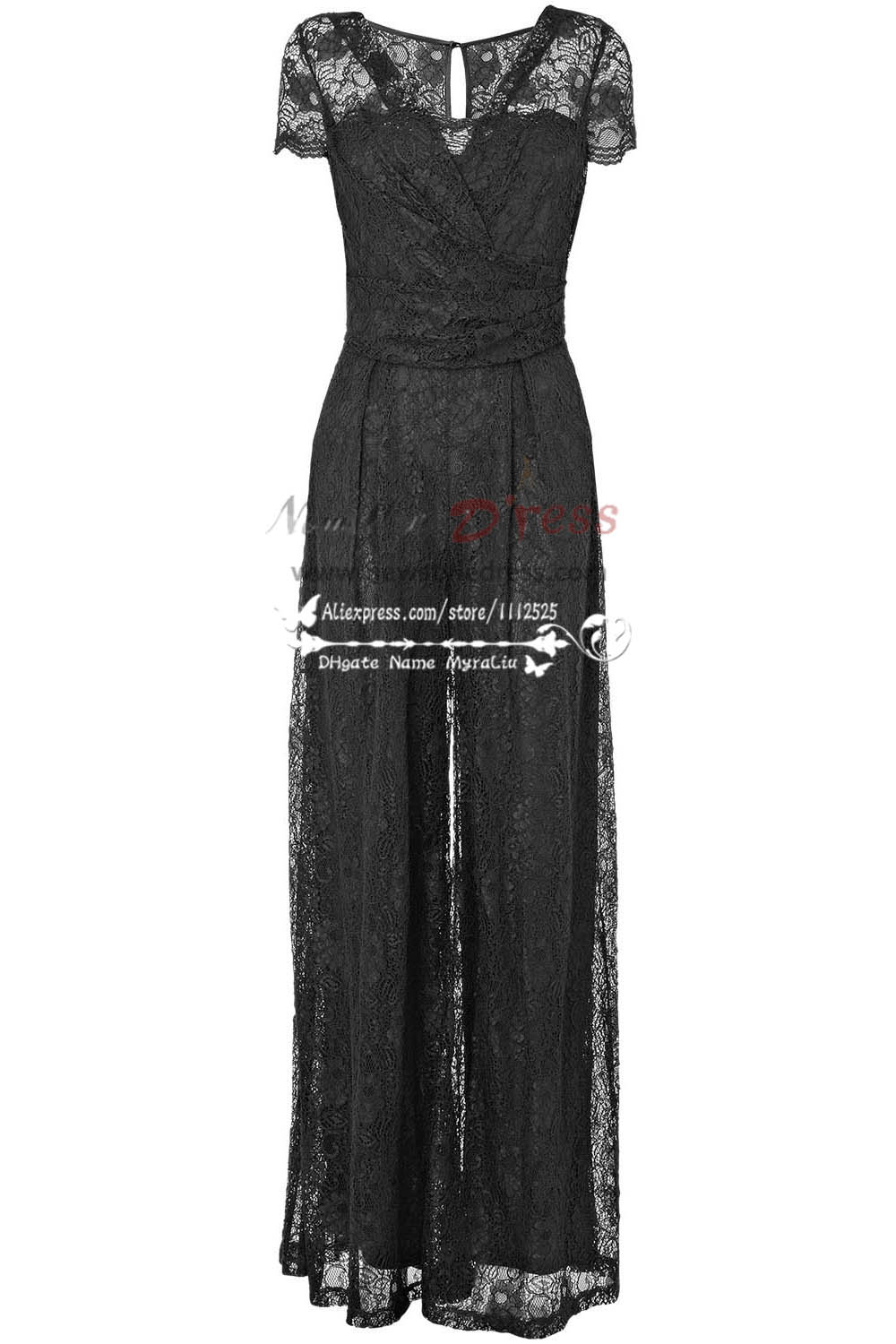 Modern sexy black Prom Jumpsuit dress with lace nmo228  Mother Of The Bride Pantsuits