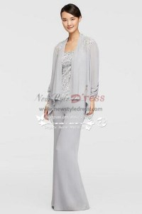 Mother of the bride pant suits Three piece Silver grey ...