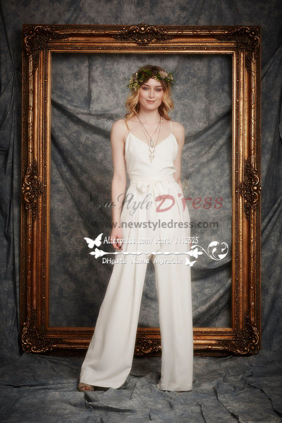 New Arrival Wedding chiffon jumpsuits with detachable
