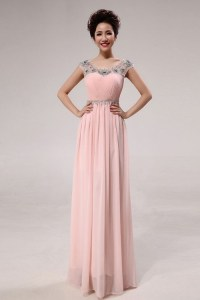 Jewel Short Sleeves long Prom Dresses Pink Red wholesale ...