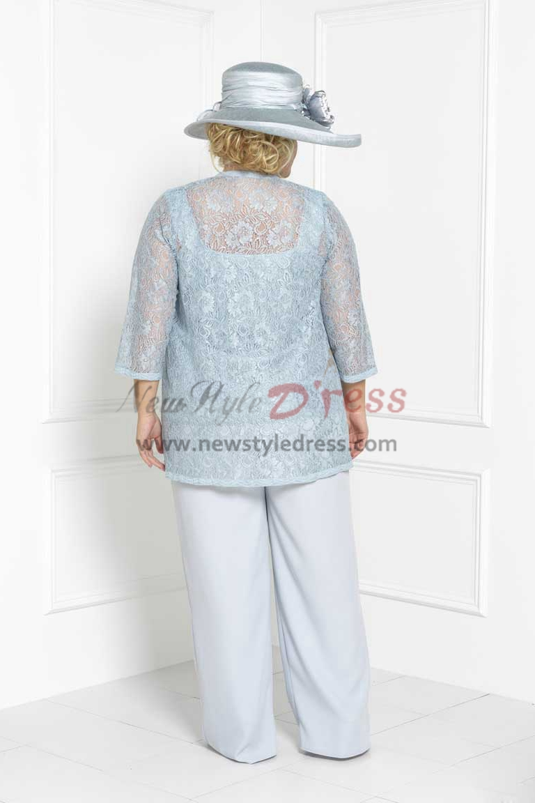 Plus Size Lace Three Piece Mother Of The Bride Pant Suits