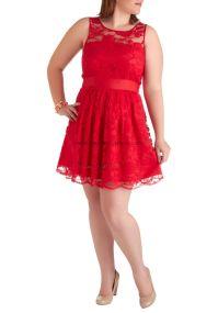 red lace a-line Custom Jewel Neckline plus-size ...
