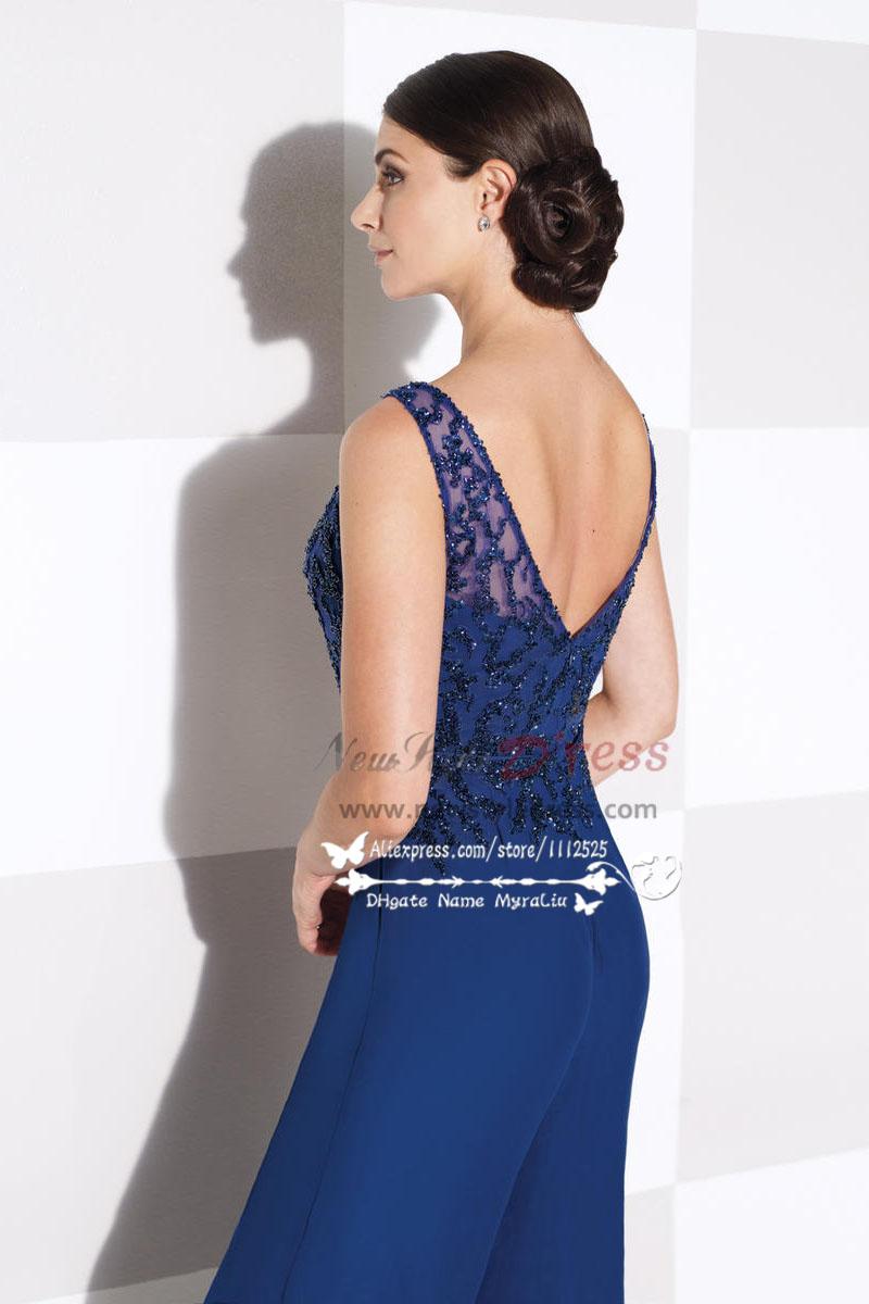 Womens delicate royal blue chiffon wedding party dress