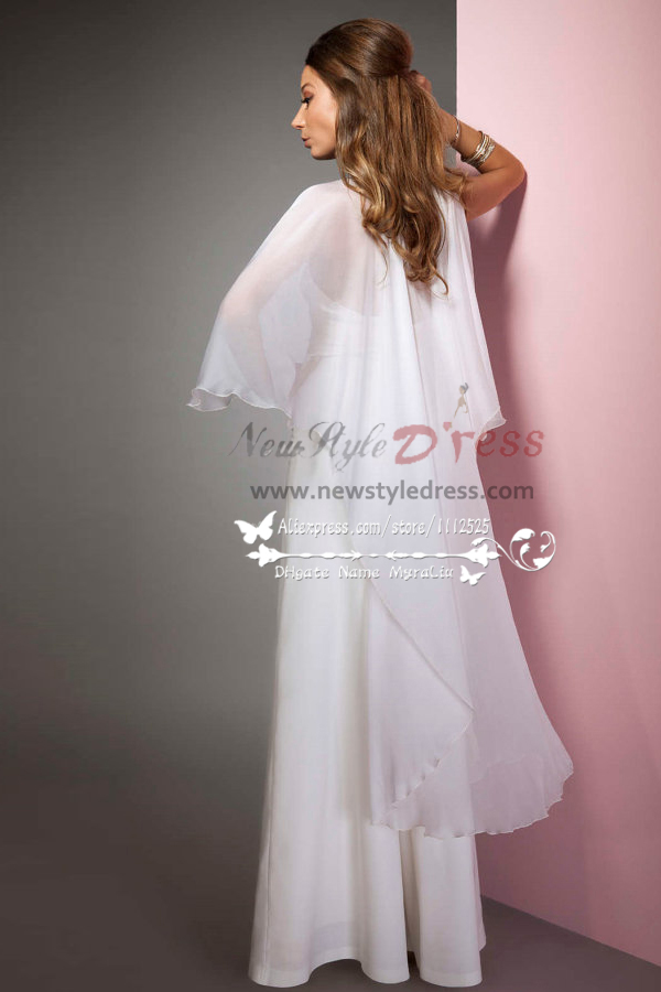 Sexy Halter Deep Vneck bridal jumpsuits with chiffon cape for wedding wps075  Wedding Pant Suits
