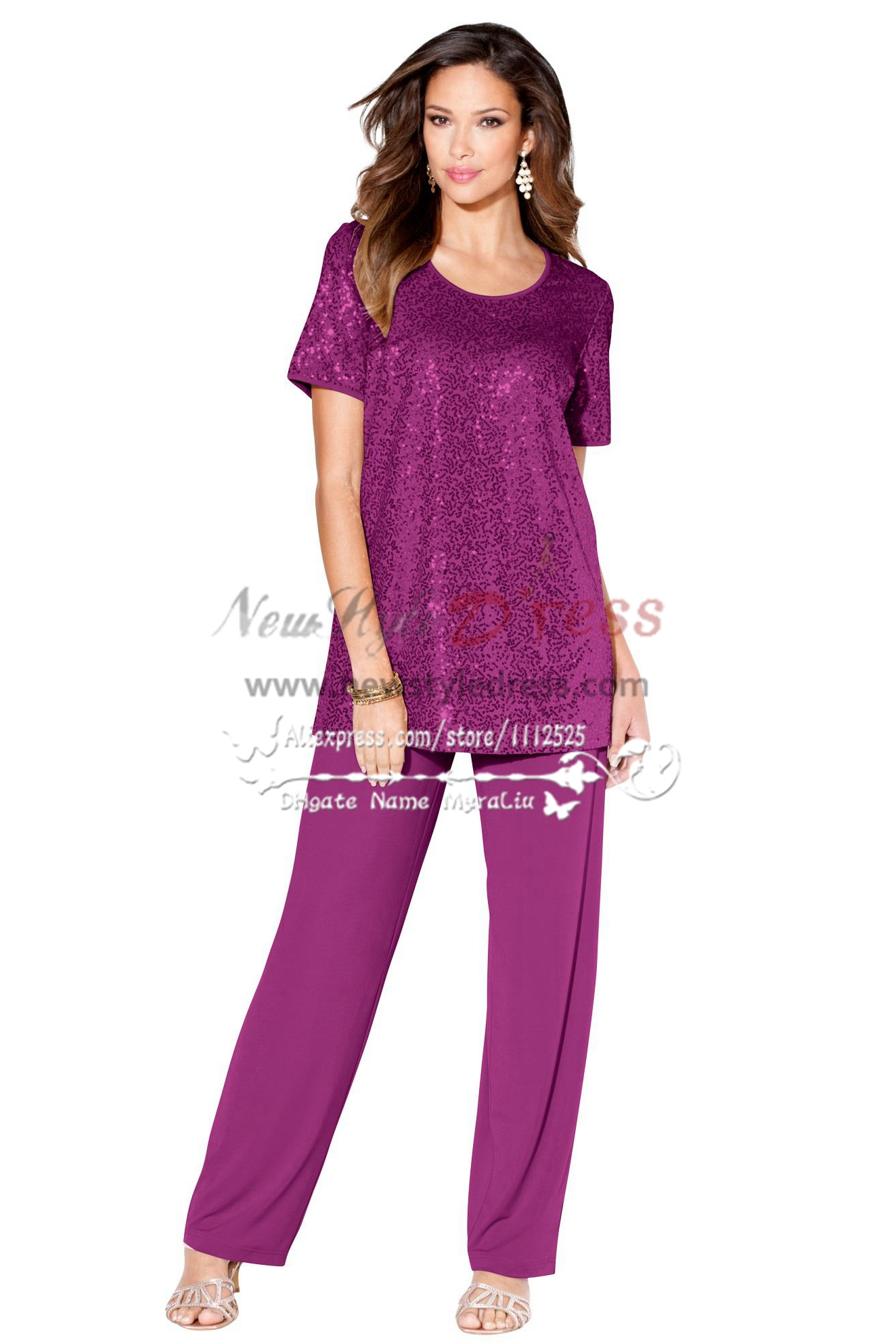 Two piece Sequined Mother of the bride pant suits Purple nmo266