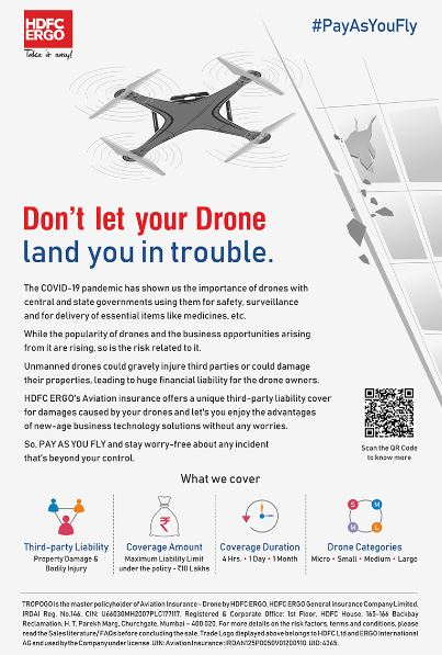 14002 hdfc%20ergo - HDFC ERGO to Launch On-demand 'Pay As You Fly' Insurance for Drones with TropoGo