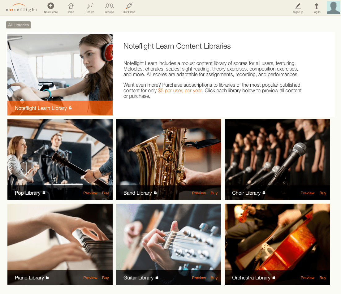 Noteflight Learn Adds Digital Sheet Music Subscriptions