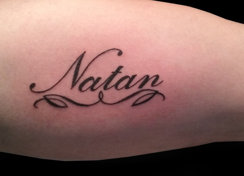 "Writing ""Natan"" tattoo - tatouage écriture ""Natan"""