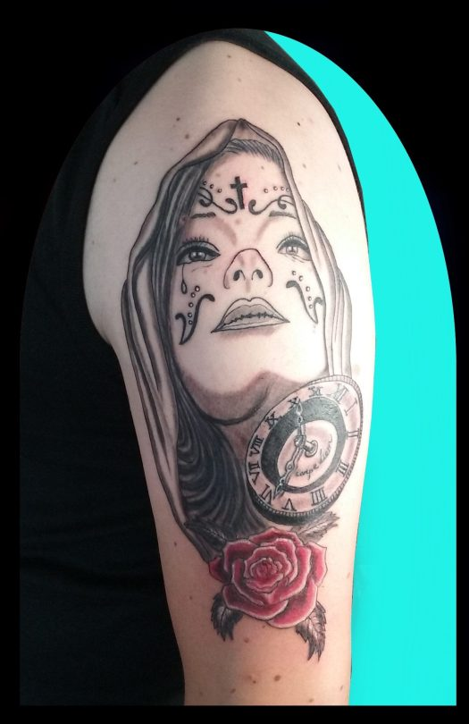 Mexican death mask tattoo - Tatouage masque mexicain