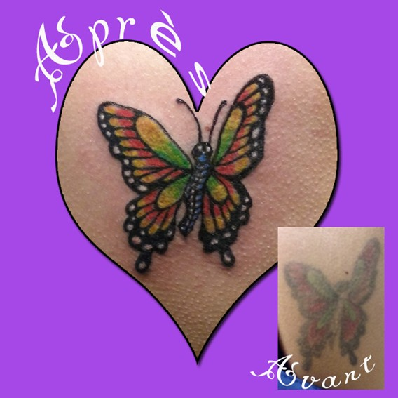Butterflie tattoo before after - Tatouage Papillon avant apres