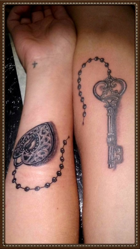 Heart & his Key tattoos - Tatouages Coeur & sa Clef