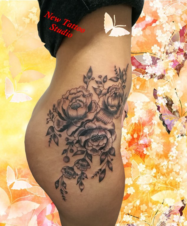Flowers tattoo body - Tatouage fleurs - France (40)