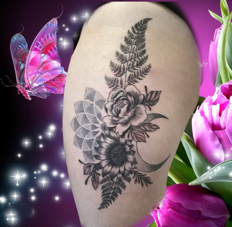Flowers tattoo fleurs tatouage - Landes France