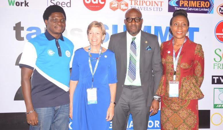 """Caption: From left: Convener of TAMS summit, Mr. Afolabi Abiodun; Business Coach, Stanford Seed, Mrs Emily Liggett; Special Adviser, Education, Lagos State, Mr Obafela Bank-Olemoh; and Chairperson of the occasion, Yetunde Ogbomienor at the 2018 TAM summit, tagged """"Making Nigeria work"""" held in Lagos, recently."""