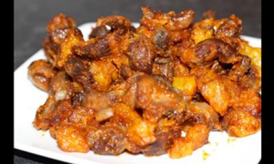 Gizdodo recipe (Stewed Gizzard and Plantain)