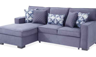 Glam your living rooms with blue denim sectional sofas
