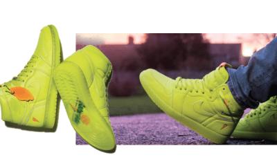 Feel fresh in lemon green sneakers