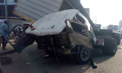 JUST IN: Articulated truck falls on another truck in Lagos