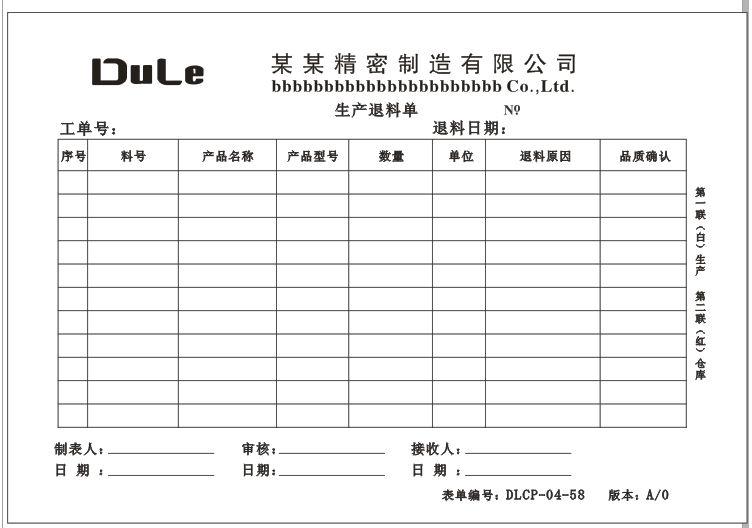退料單:退料單格式,退料流程,非生產退料單,概述,所需填寫內容,表身:INV_TF_中文百科全書