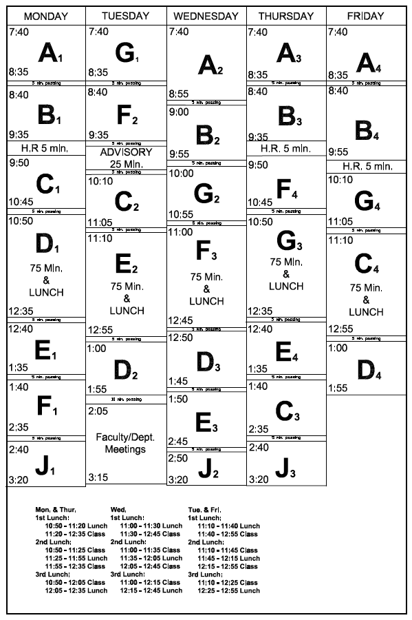 School Information / Block Schedule