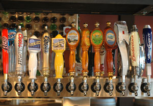 Beer on tap at the Freight House District, Reno, Nevada, NV