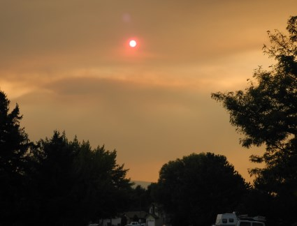 Forest fire smoke in the sky over Reno, Nevada.