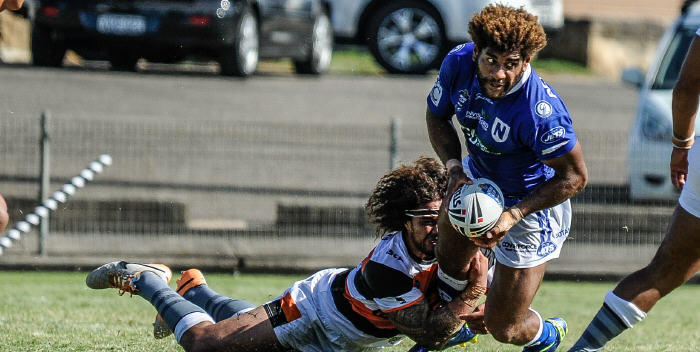 The Fijian Rugby League international and Newtown Jets second-rower Junior Roqica looks to get his pass away against Wests Tigers at Henson Park on Saturday. Photo: Gary Sutherland Photography