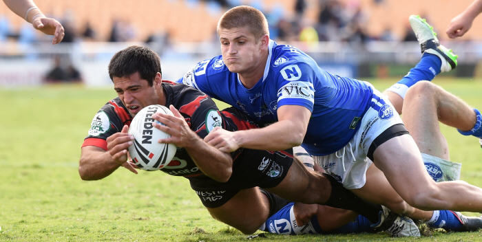The Newtown Jets and the New Zealand Warriors played in Auckland on Anzac Day, and both clubs can be seen in action in the NSW Cup double-header at Henson Park this Saturday. Photo: Photosport New Zealand.