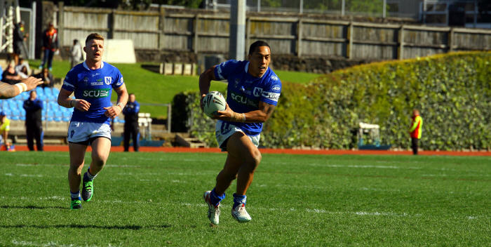 Kurt Kara in action against the NZ Warriors in 2014 during Newtown's miraculous 30-28 come from behind victory . The Jets will be trying for similar heroics this Saturday against a very strong Warriors outfit.