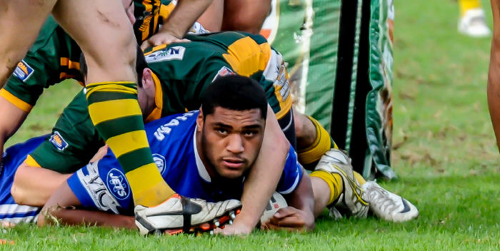 Saulala Houma, back to his barnstorming best against Wenty last game will be hoping for some more 'meat pies' against Wyong at Muswellbrook this Saturday. Photo: Gary Sutherland