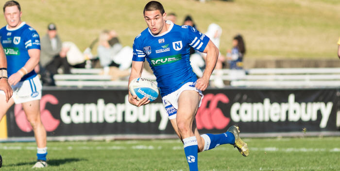 Newtown Jets halfback Luke Towers is about to put on a step at Belmore on Saturday afternoon that showed why he was the Toast of the French Rugby League in recent seasons. Photo: Mario Facchini (MAF Photography)