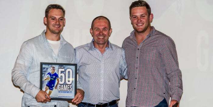 Three prominent Newtown Jets identities at the annual awards night on Tuesday, 26th September: Left to right – Matt Evans (winner of the best back award), Greg Matterson (head coach) and Kurt Dillon (club best and fairest award winner). Photo: Gary Sutherland Photography.