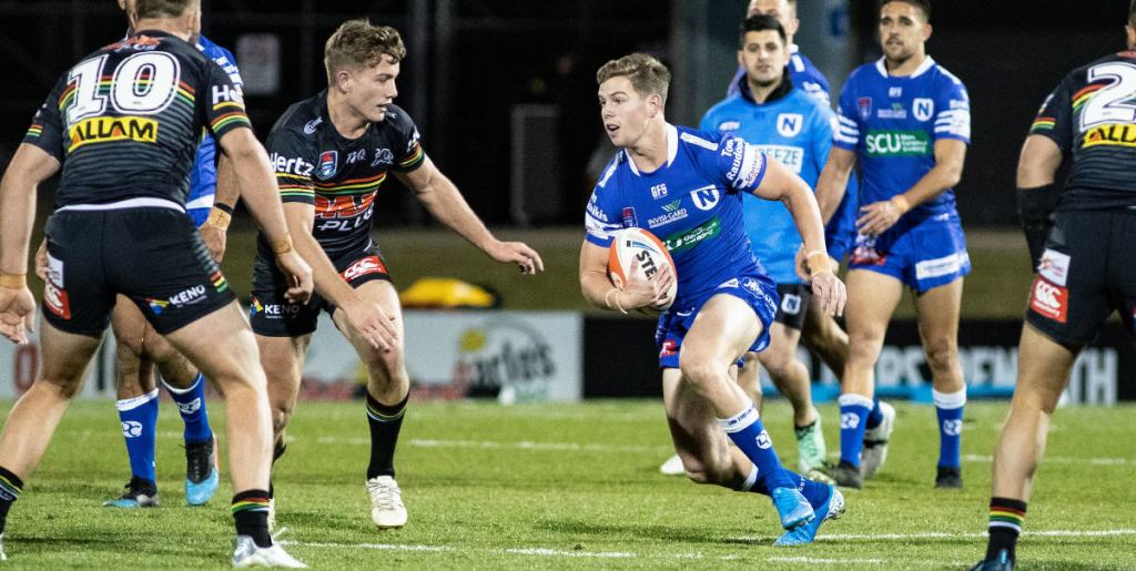 Newtown Jets hooker Blayke Brailey takes the ball forward in Friday night's thrilling upset victory against the Penrith Panthers. Photo: Mario Facchini, mafphotography