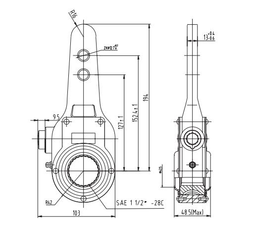 Wabco 288753 Manual Slack Adjuster, 1.5″-28 Spline x 127