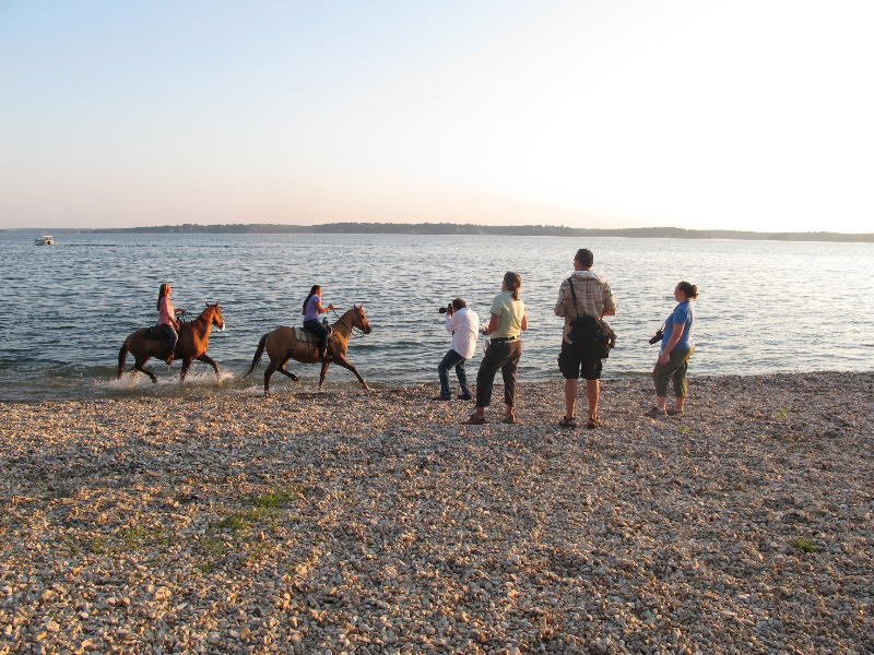 Shooting horses running down the beach for the Kentucky Visitor's Guide Cover