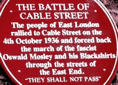 Cable  Street anti-fascist red plaque