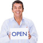Business Owner with open sign