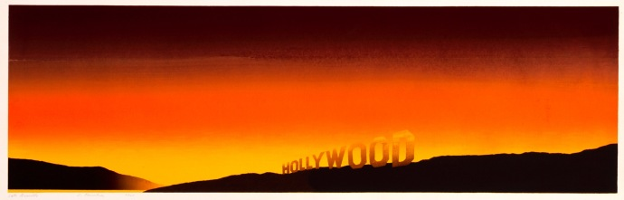 """""""Hollywood"""" (1968). For twenty years, Ruscha kept a studio in East Hollywood. """"If I could see the Hollywood sign, I'd know the weather wasn't too smoggy,"""" he said."""