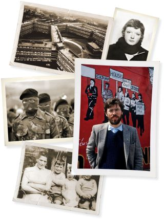 Clockwise from top right: Dolours Price; Gerry Adams; Jean McConville and three of her children; I.R.A. men at the funeral of Bobby Sands; Divis Flats, the Belfast housing project from which McConville was abducted.