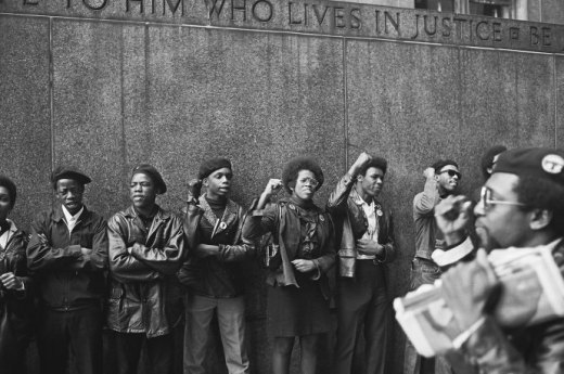 In 1969, when this photograph of Black Panther Party members was taken, outside a courthouse in New York City, the organization had begun to fracture due to clashes with the authorities and internal dissent.