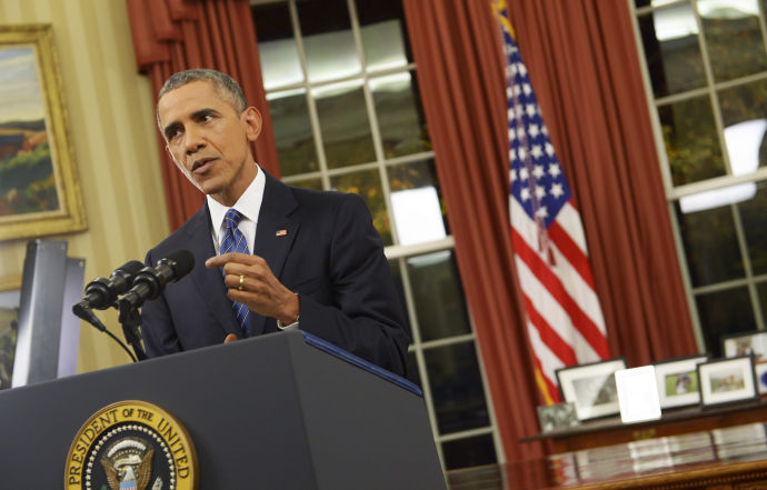 President Barack Obama, speaking from the Oval Office on Sunday night.